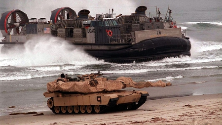 A Safe Beach Landing - battle tank, general creighton abrams, fire power, power, army, beautiful, hovercraft, abrams, beach, m1, united states, modern, tank, big, military, us navy, heavily armored, fast, m1a2, armor, highly mobile, main battle tank, m1a1, modern warfare, awesome, heavy, lcac, photoshop, marine corps