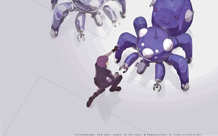 Motoko Kusanagi & The Tachikoma - ghost in the shell, tachikoma, major, motoko