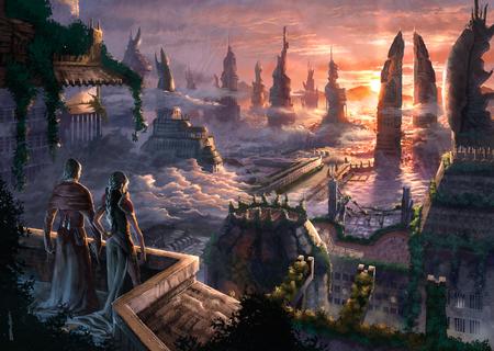 Fantasy land - beautiful, colorful, sunset, fantasy, clouds, magic, abstract