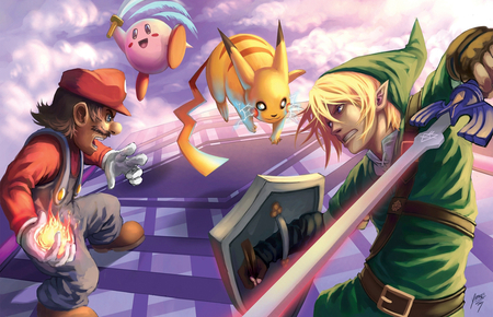 Link Vs Mario Brawl Super Smash Bros  Brawl