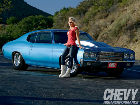 Chevelle Girl - blond, 1970, beautiful, woman, hair, chevrolet, hot, face, babe, legs, chevy, blonde, sexy, lips, girl, 70, chevelle, lady, eyes