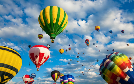 Up In The Sky - colorful, photography, peaceful, ride, hot air balloons, sky, colors, splendor, balloon, nature, hot air balloon, beauty, beautiful, lovely, balloons, clouds, pretty, race, many, view, ballon