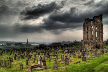 Long Forgotten - grass, ruins, church, cemetary, old, clouds, storm, dark, forgotten