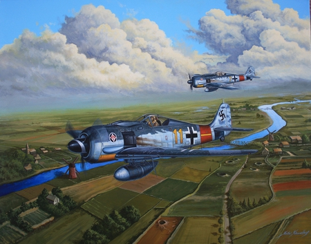Wolves over Holloand - focke-wulf, german, ww2, 190, wulf, focke, plane, luftwaffe, wwii, painting