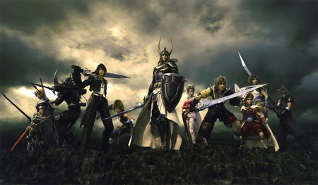 Dissidia - warrior of light, cloudy, bartz klauser, shield, video game, game, takeshi arakawa, gunblade, square enix, tidus, warriors, tetsuya nomura, final fantasy, onion knight, cliff, weapon, sword, night, zidane tribal, cecil harvey, shantotto, heros, cloud strife, armor, firion, buster sword, dissidia, squall lionheart, terra branford, psp