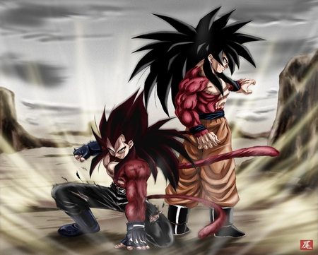 Super Saiyans - goku, boots, tails, green eyes, duo, spiky hair, dragonball, dragonball gt, anime, son goku, long hair, super saiyans, fur, black hair, ssj4, saiyans, vegeta, cool, belt, torn clothing