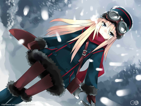 anime girl in snow - girl, anime, lonel, in the snow, other