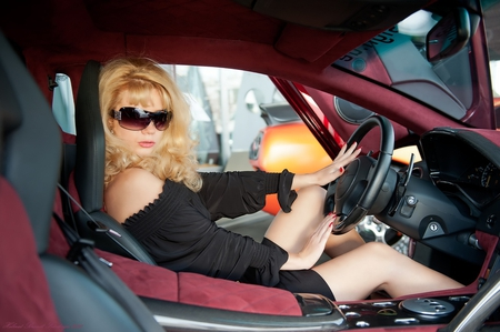 car - car, blond, black, girl
