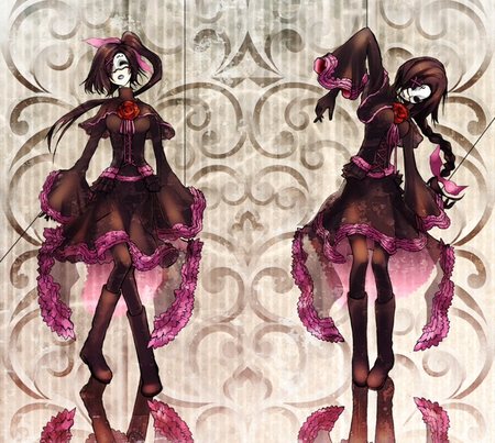 Moira - short hair, gothic lolita, string, lolita fashion, purple hair, two girls, mask, long hair