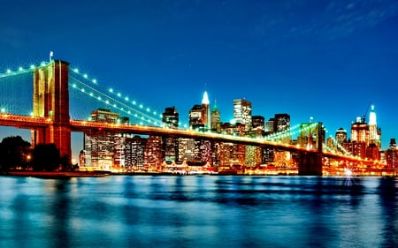 Brooklin Bridge - river, bridge, architecture, lights