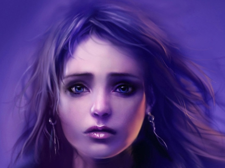 Hecate - cg, face, eye, purple, fantasy, girl, female, sad, hecate