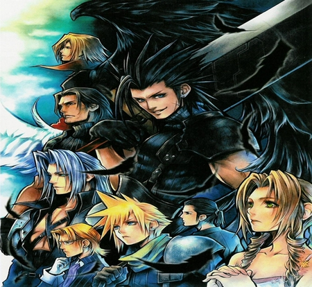 Crisis Core - ff7, zack fair, green eyes, video games, glasses, tsung, gloves, spiky hair, aerith gainsborough, final fantasy, long hair, blue eyes, sword, sephiroth, black hair, wings, cloud, brown hair, genesis, aerith, blonde hair, angeal, weapons, cloud strife, zack, crisis core