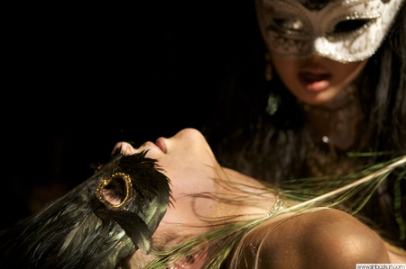 The Mysterious Touch - masquerade, masks, touch, feather