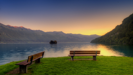 Front Row Seats - green, grass, benches, beautiful, island, lake