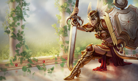 Leona- The Radiant Dawn - sun, shield, shine, power, league of legends, leaves, strength, vines, weapon, sword, dawn, radiant, armor, warrior, leona, strong, knight