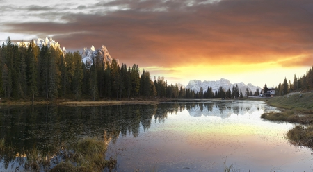 Morning Lake - image, background, firs, gold, creeks, bright, dawn, mountainscape, brightness, mountains, border, hd, natu, beautiful, cold, leaves, green, beije, blue, lakescape, frigid, maroon, day, desktop, reflected, branches, house, hr, orange, high resolution, high definition, yellow, clouds, cenario, lightness, calm, lavandas, shadows, beauty, forests, morning, rivers, cena, pines, water, cool, serenity, awesome, computer, pastel, landscape, brown, gray, lavenders, mirror, pink, light, amazing, clear, line, lake, leaf, serene, plants, frozen, reflections