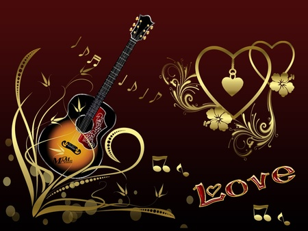 music soul background notes wallpapers guitar gold hearts desktop abstract
