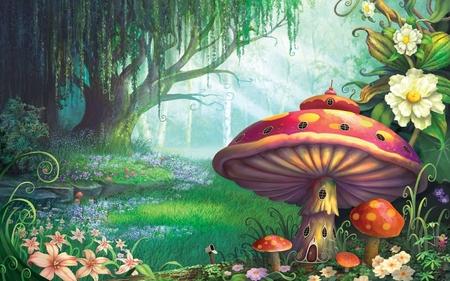 Mushroom House - fantasy forest, fungi house, mushroom house, fairy home