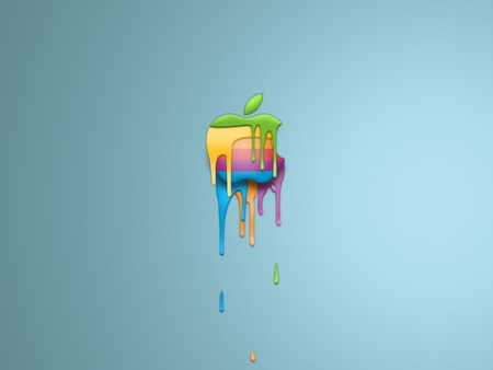 Happy Colors For Apple Technology - apple, melt, dripping, colors, rainbow