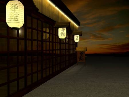 Japanese Walkway WDS - architecture, japan, buildings, clouds, sky, asia, lights, night