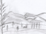 Mountains - Before - Hand Drawn Wallpaper