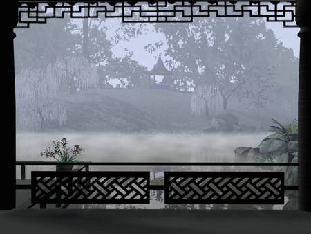 Foggy View Through Rice Paper Window - houses, trees, sky, asia, gazebos, japan, fantasy, landscapes, views, gardens