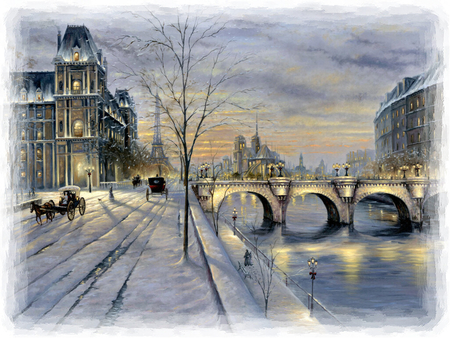 Winter in Paris F5 - art, finale, artwork, winter, robert finale, snow, bridge, painting, ice, river, scenery, landscape