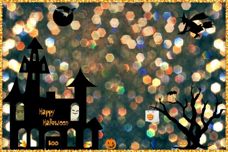 Sparkling Halloween - witch, orange, halloween, halloween bag, candy corn, moon, bat, glitter, haunted house, frankenstein, black, sparkles, tree, jack-o-lantern, boo, ghost, pumpkins