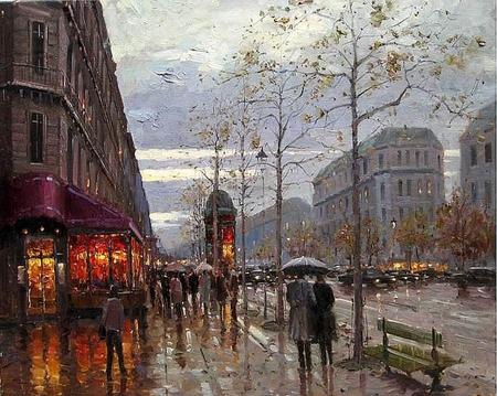 Boulevard St Germain In Rain Paris