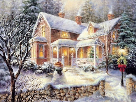 Christmas scene - tree, house, christmas, snow, village, winter