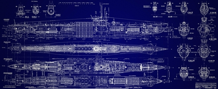 German Submarine - submarine, plan, boat, components
