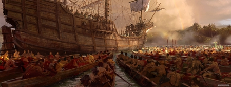 Age of Empires - fantasy, boat, ship, age of empires, cg, video game, dual screen, digital art