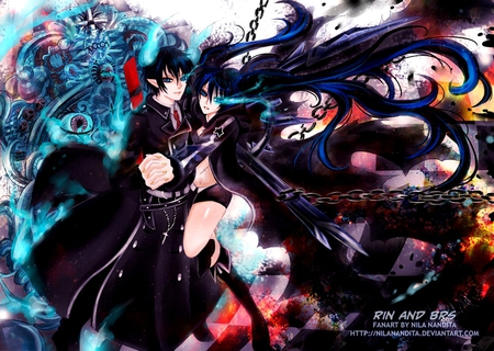 B★R★S & Okumura Rin - ao no exorcist, fighter, boots, together, break, black rock shooter, hot, anime girl, sword, black hair, chain, female, male, black coat, brave, okumura rin, sexy, bikini, cool, growing eye