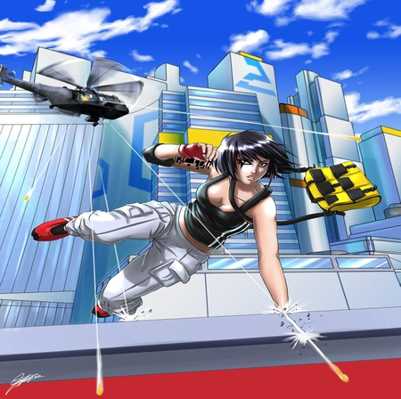 Faith Connors - games, bag, video game, game, video games, cargo pants, clouds, faith connors, city, bullets, gloves, black hair, female, mirrors edge, helicopter, buildings, sky, yellow eyes, skyscrapers, short hair, singlet, girl, faith