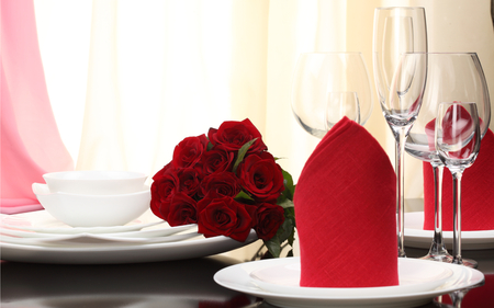 Roses - red, red roses, pretty, dinner, table, romantic, romance, rose, glasses, roses, still life, glass, bouquet, flowers