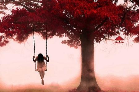 Sad Woman - fantasy, girl, pink, sad, tree, abstract, art work