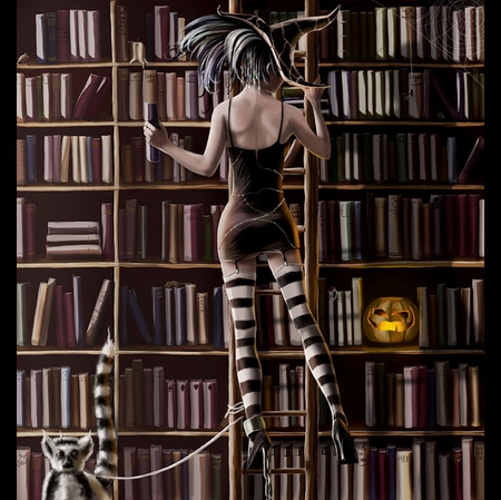 Witch - spiders, hd, cg, halloween, witch, digital painting, boot, jack o lantern, books, sexy, andy jones, woman, female, cobwebs, cat, hot, library, beauty, fantasy, pumpkin, girl, pretty, art
