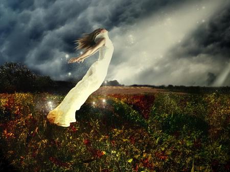 Free - dark, freedom, free, fantasy, woman, field, girl, flight, ray