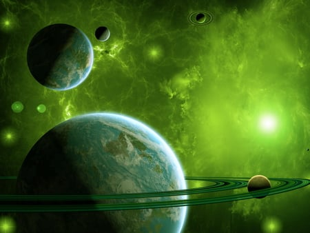 Green Universe - planets, oceans, image, 3d and cg, background, space, circles, painted, rockets, clouds, cenario, rings, nice, scenario, wallpaper, beauty, art, moons, cena, black, different, panorama, spatial, cool, awesome, computer, great, photoshop, fullscreen, dust, white, nebulae, beautiful, continents, artwork, sea, picture, photography, green, effects, scenery, galaxies, blue, photo, stars, amazing, customized, view, satellites, universe, desktop, pc, scene
