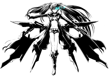 Black★Rock Shooter - pretty, stunning, boots, game, thigh highs, beautiful, thighhighs, nice, anime, shorts, black rock shooter, hot, beauty, anime girl, brs, ova, amazing, swords, sexy, bikini, weapons, sketch, cute, cool, warrior, girl, jacket, drawing, bikini top, awesome