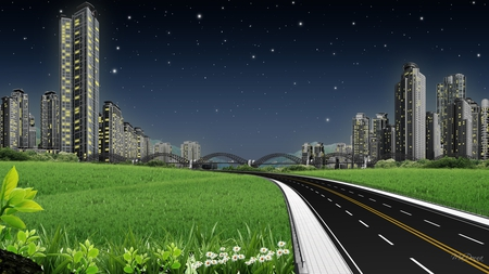 Road To City - buidlings, stars, grass, park, sky, highway, city, bridge, flowers, sky scrapers, road