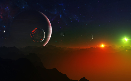 Imagination - planets, sun, 3d and cg, background, circles, sundown, nice, gold, mounts, bright, sunbeam, art, dawn, brightness, fire, sunrays, purple, mountains, violet, white, red, nebulae, ambar, beautiful, artwork, green, amber, scenery, galaxies, blue, night, customized, day, desktop, pc, scene, yellow, painted, cenario, rockets, lightness, scenario, peaks, beauty, sunrise, widescreen, cena, golden, black, different, panorama, cool, awesome, computer, sunshine, great, photoshop, dust, sunny, picture, photography, sunsets, effects, light, stars, amazing, photo, satellites