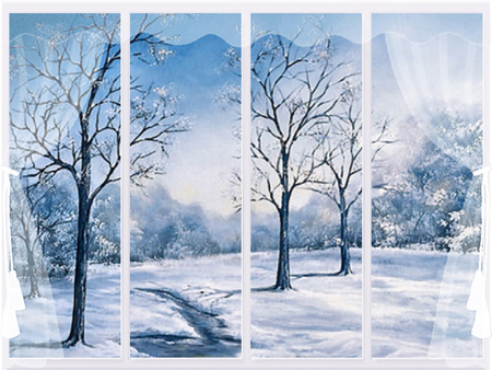 Winter Scene F2 - art, window, artwork, winter, snow, painting, ice, nature, scenery, landscape