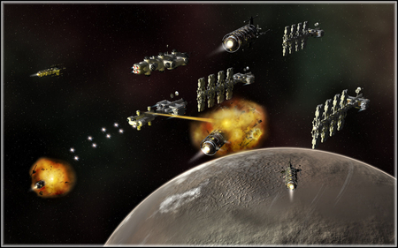 under attack - stars, explosions, fighters, moon, spaceships