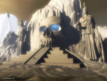 alien temple - skull, steps, people, statues, mountains