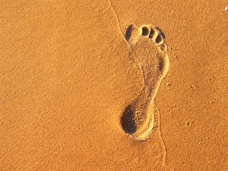 Speared Foot  - beach, summer, sand, footprint
