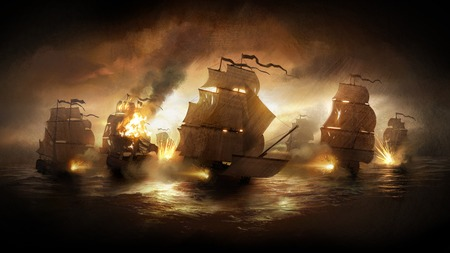 Battle Ships - pirates, fire, hd, game, empire-total war, battle, ships, ship, sea