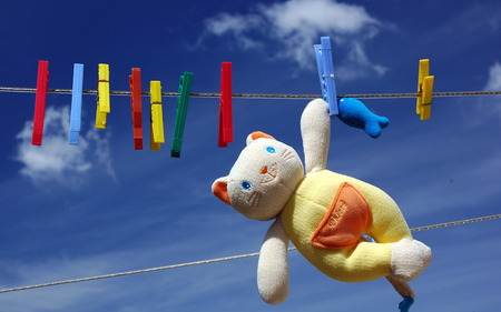 Hello Kitty Doll Drying  - colorful, teddy, kitty, beautiful, sky, doll, clouds, hello kitty, drying, cat doll, nature, cats, animals, blue