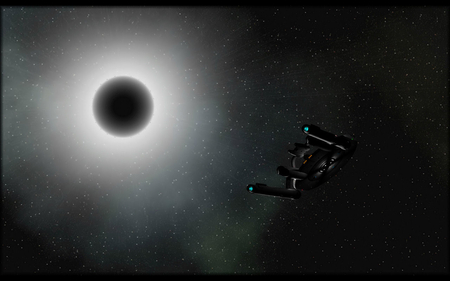 towards the eclipse - ship, stars, planet, sun