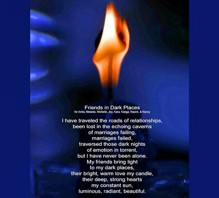 Friends in Dark Places - friends, flame, poem, blue, abstract